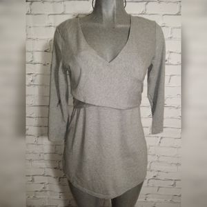 Gap maternity nursing crossover gray blouse size M